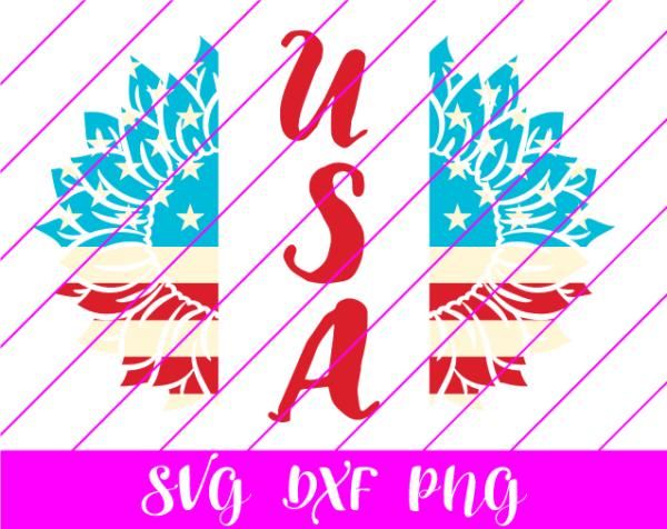 USA Sunflower 4th of July SVG