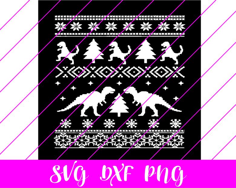 dinosaur christmas pattern svg