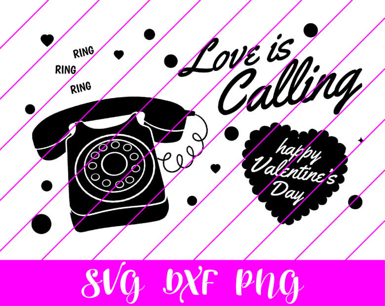 valentines day phone love is calling svg