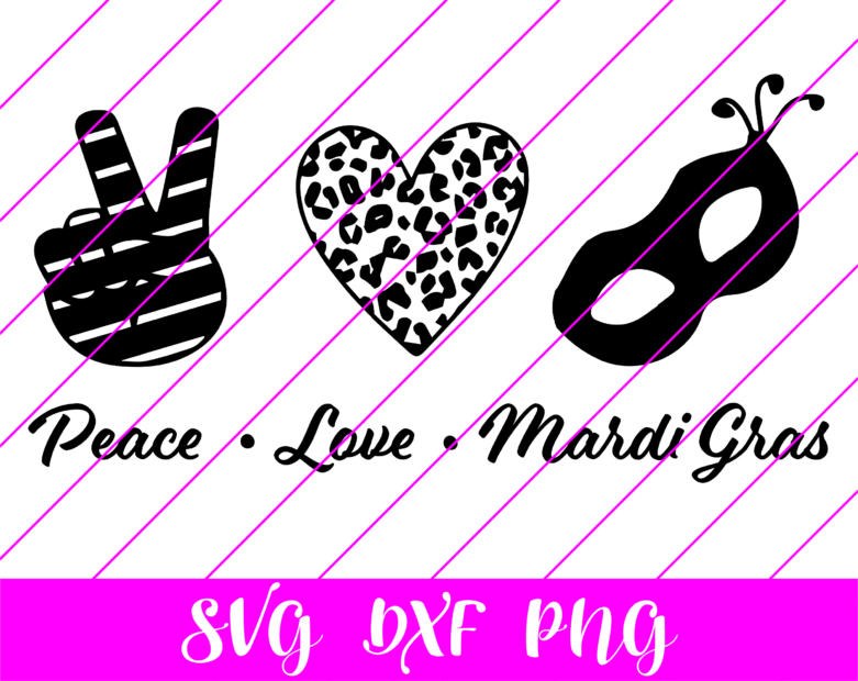 peace love mardi gras bw svg
